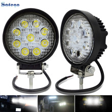 2pcs 4x4 spot lights round led  dc 12v 27w suv atv flood beam tractor work worklight
