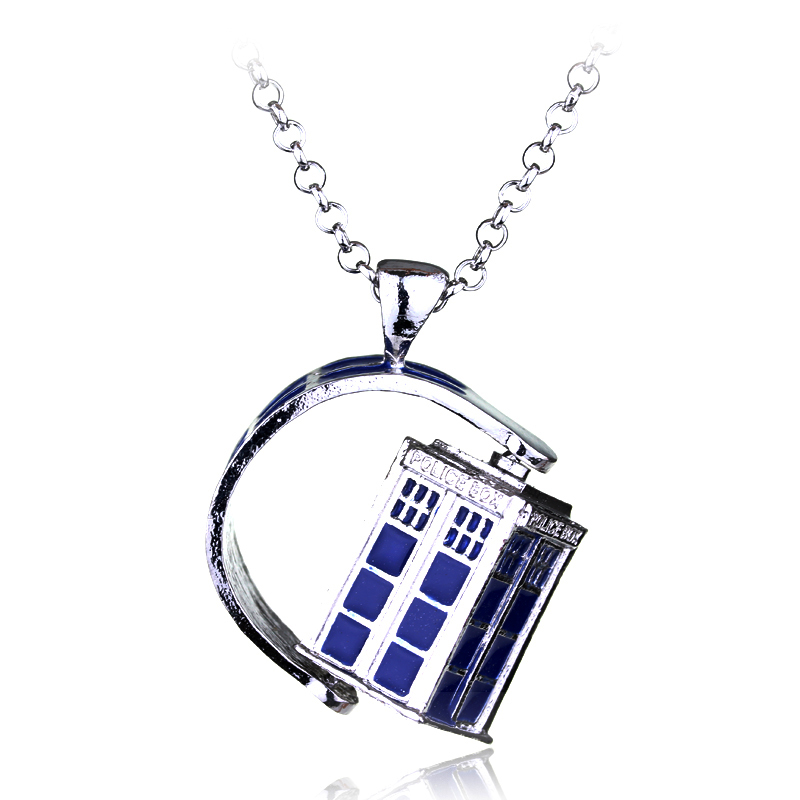 Movie Dr. Mysterious Police Box House Alloy Jewelry Pendant Neckalces Doctor Who Necklace Halloween Party Cosplay Gift For Women