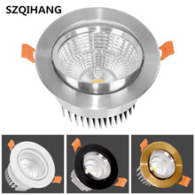High Quality Dimmable 7W/10W/15W/20W Recessed COB LED Down Light Spot White/Gold/Silver/Black Indoor Decoration