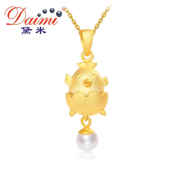 Daimi 2017 novo ano de galo frango ouro pingente 5-6mm de água doce da pérola & 925 pingente de prata jóias garota inteligente