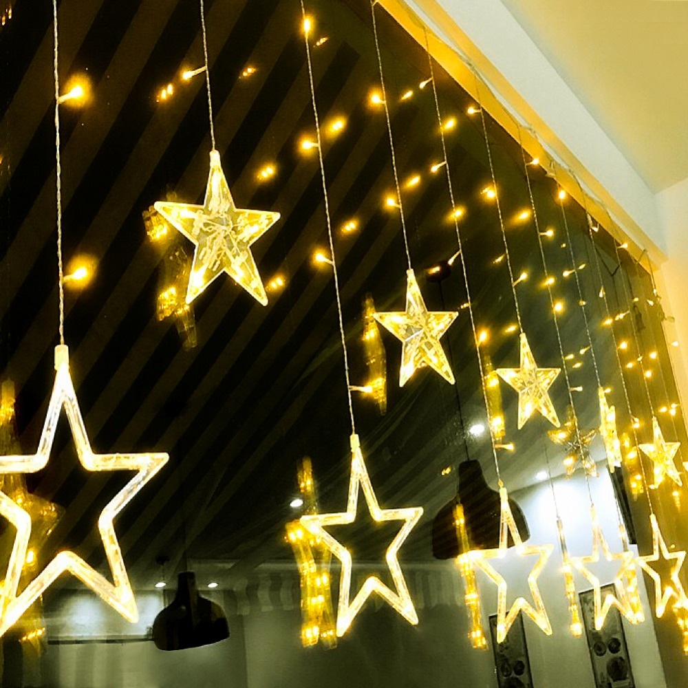 220v Led Cabinet Decoration Lamp 2.5m Pentagram Curtain Led String For Indoor Wedding Christmas Holiday Decor Lamp With Eu Plug Curing Cough And Facilitating Expectoration And Relieving Hoarseness