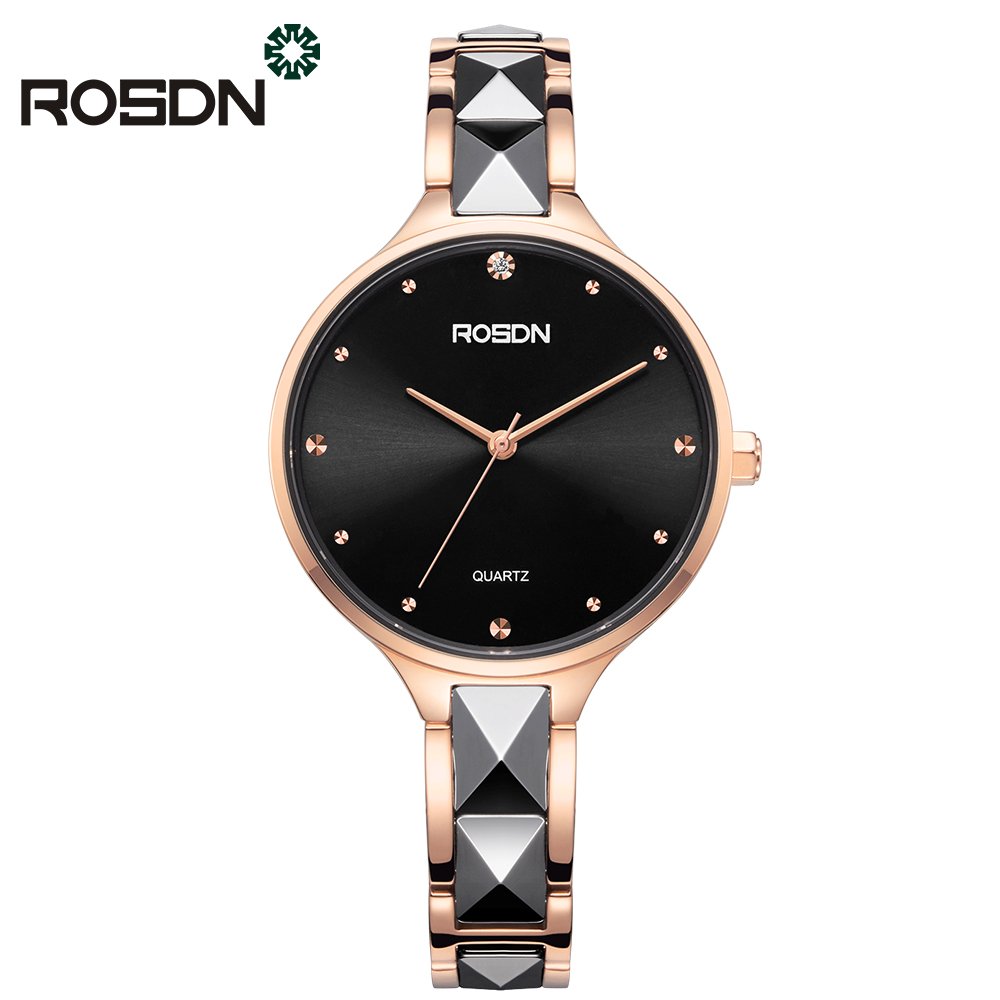 ROSDN Women Watches Bracelet Gift Set Crystal Rose Gold Luxury Ladies Dress Watch Quartz Full Stainless Steel female wrist watch deepshell full crystal diamond women stainless steel bracelet quartz gold watch female ladies dress wrist watches montre femme