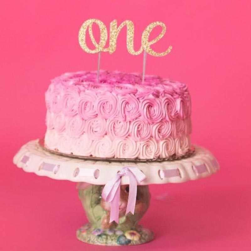Wondrous Gold Glitter Cake Topper For Baby Kid Girls Boys One 1St First Birthday Cards Printable Inklcafe Filternl