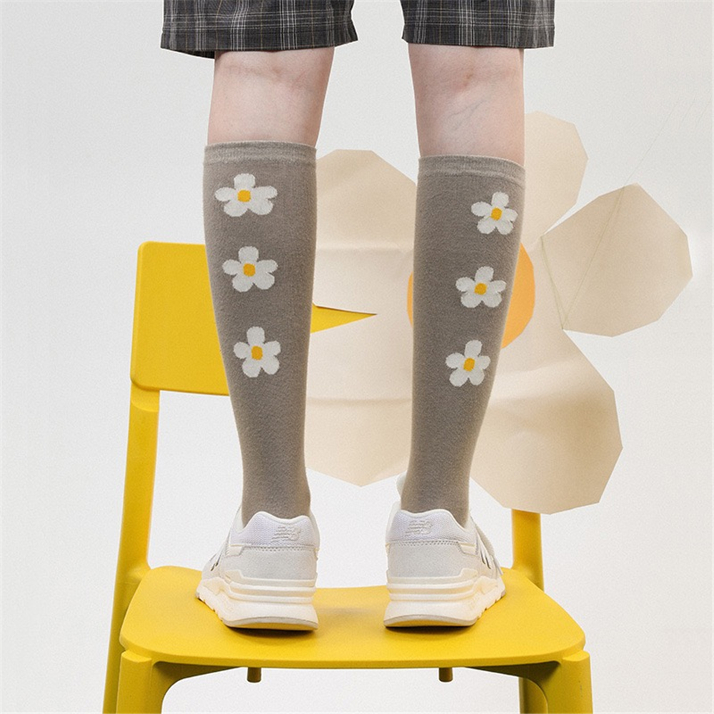 Spring Summer New Women's Cotton Stockings Small Fresh Girl College Wind Flower Print Shaping Sweat-absorbent Casual Knee Socks