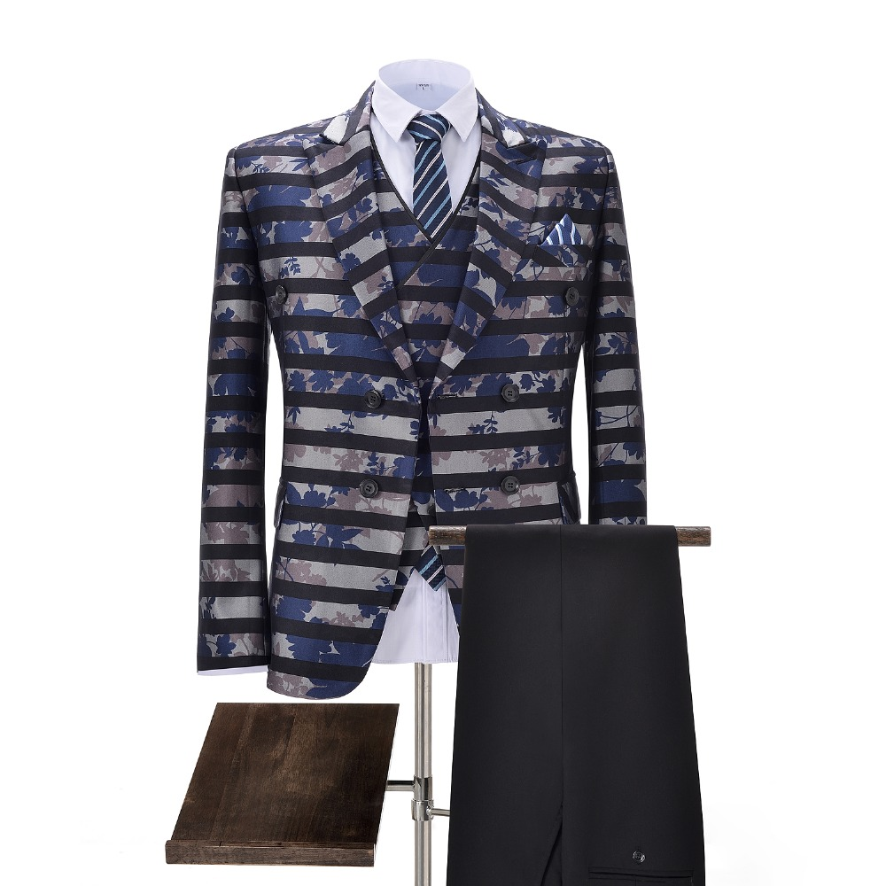 Mens Suits 3-Pieces Slim Fit Business Suits Groom Retro Noble Striped Tuxedos For Formal Wedding Plus Suits(Blazer+Pants+Vest)