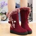 2016 Mulheres de inverno de neve botas Europa e América rodada do dedo do pé botas para as mulheres Sapatos de plataforma quente bota feminina botas novas DT630