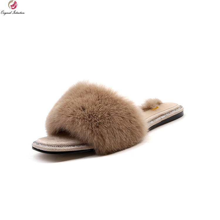 Original Intention Luxury Women Sandals Rabbit Fur Open Toe Flat Flip Flops Black Brown White Slides Shoes Woman US Size 4-10