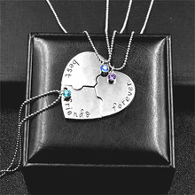 "3 Pcs/set ""Best Friends Forever"" Broken Heart Shape Rhinestone Bff Friendship Necklace Pendant Best Friend Jewelry Gifts(China)"