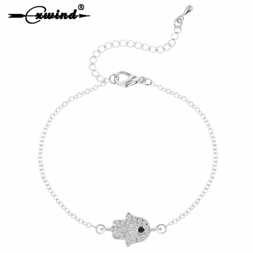 Cxwind Fashion Hasma Hand Bracelets for Women Cuff Bracelet Charms Zircon CZ Paved Hamsa Blue Lucky Eye Jewelry
