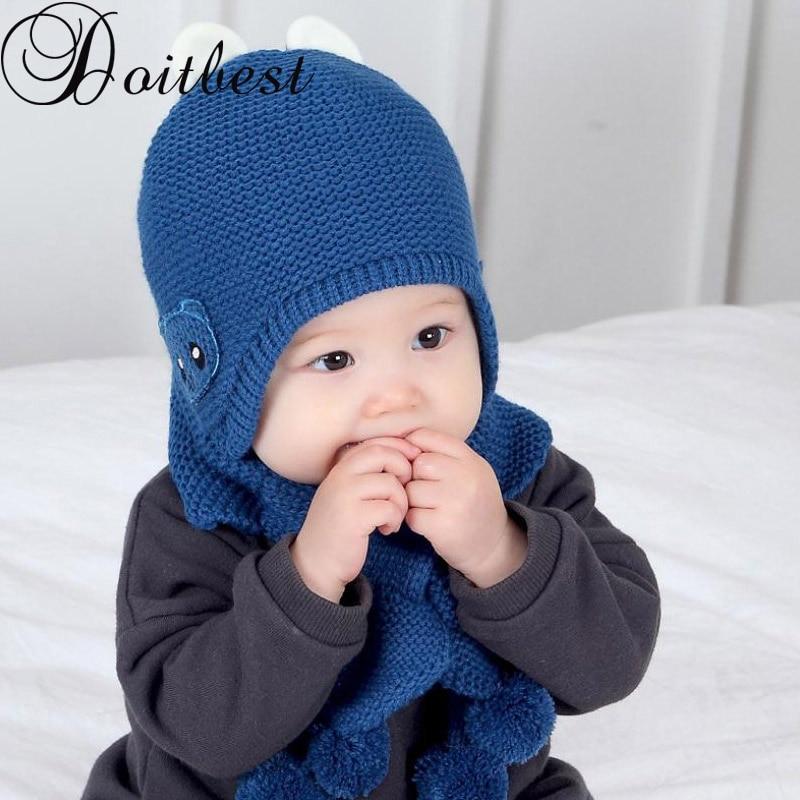 Doitbest 6 Momths To 3 Y Kids Beanies Panda Velvet Kids Boys Knitted Fur Inside Hats Winter 2 Pcs Baby Boy Girl Scarf Hat Set