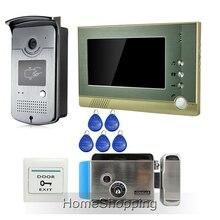 """Envío Gratis Home Wired 7 """"Color Video de La Puerta Sistema de Intercomunicación Teléfono + 1 Acceso RFID Cámara Al Aire Libre 1 Monitor + Cerradura Eléctrica"""