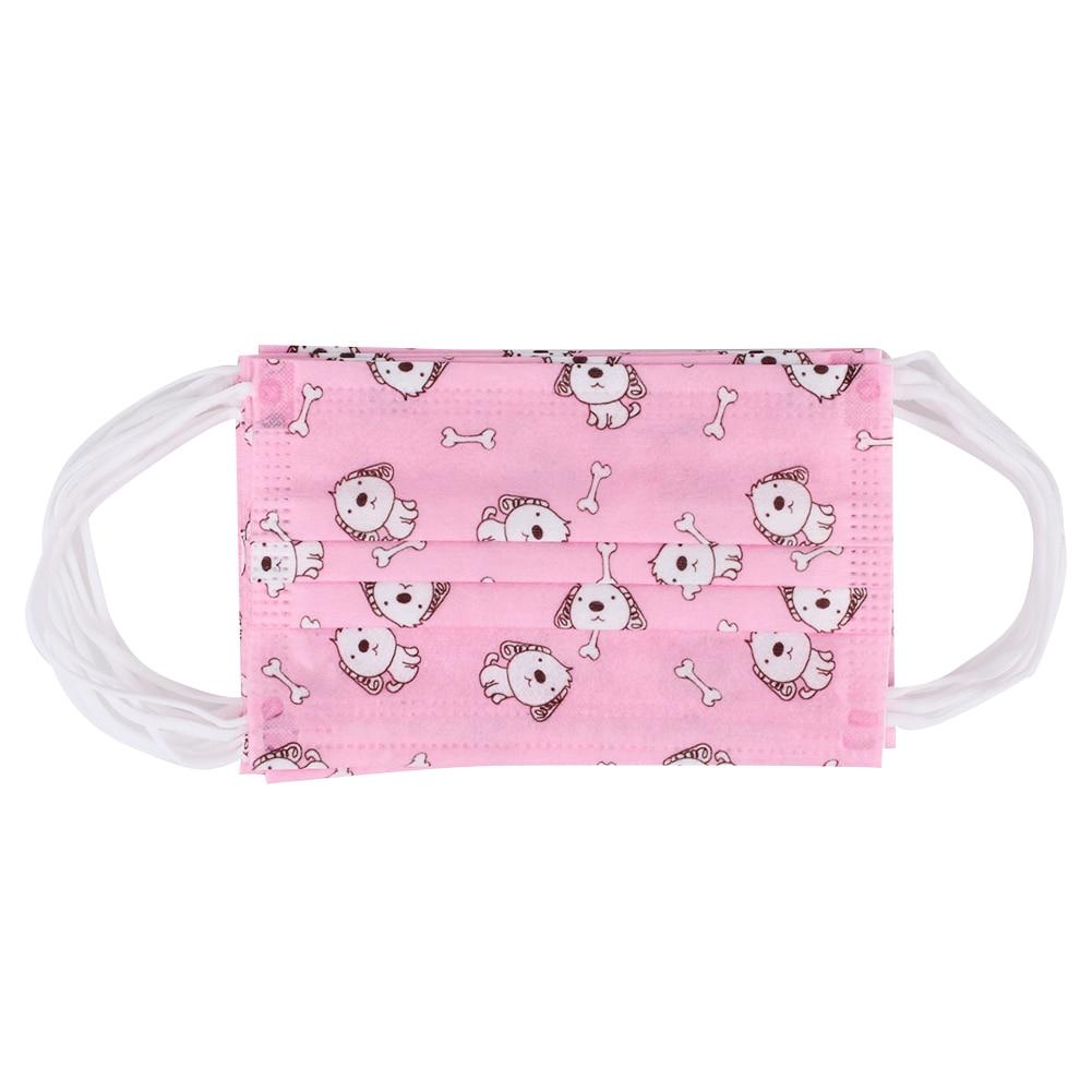 10 шт. 4 узора одноразовая маска Пылезащитная маска Outsports бактериальный фильтр респиратор Анти-туман и дымка прочная детская маска для лица - Цвет: pink puppy
