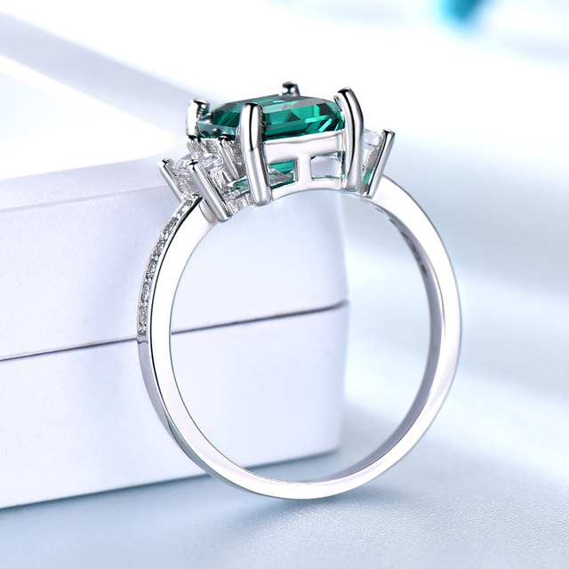 Green Emerald 925 Sterling Silver Ring 2