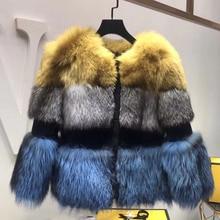 TOPFUR Casual Luxurious Winter Warm Natural Fur Jacket Fluffy 2018 Fashion Women Real Coat Down Silver Fox
