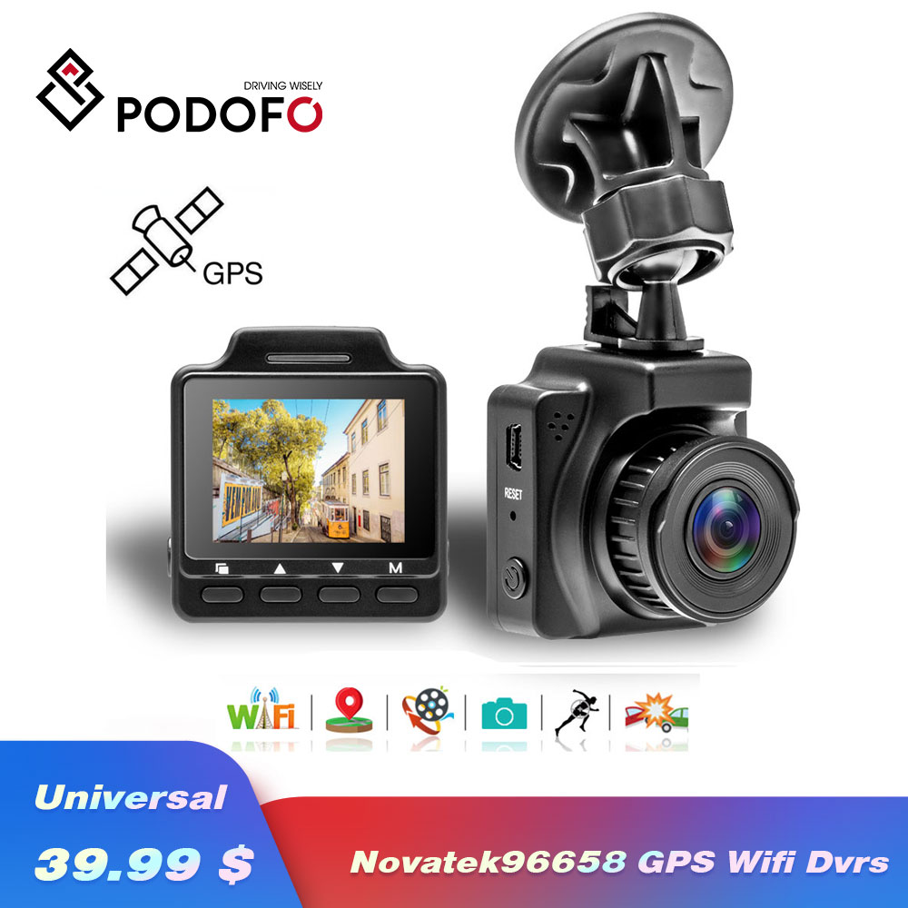 Podofo 1.5 Inch Car DVR Original Novatek96658 Video Registrator Car DVR Wifi GPS Video Recorder FHD 1080P Dash Cam CamcorderPodofo 1.5 Inch Car DVR Original Novatek96658 Video Registrator Car DVR Wifi GPS Video Recorder FHD 1080P Dash Cam Camcorder