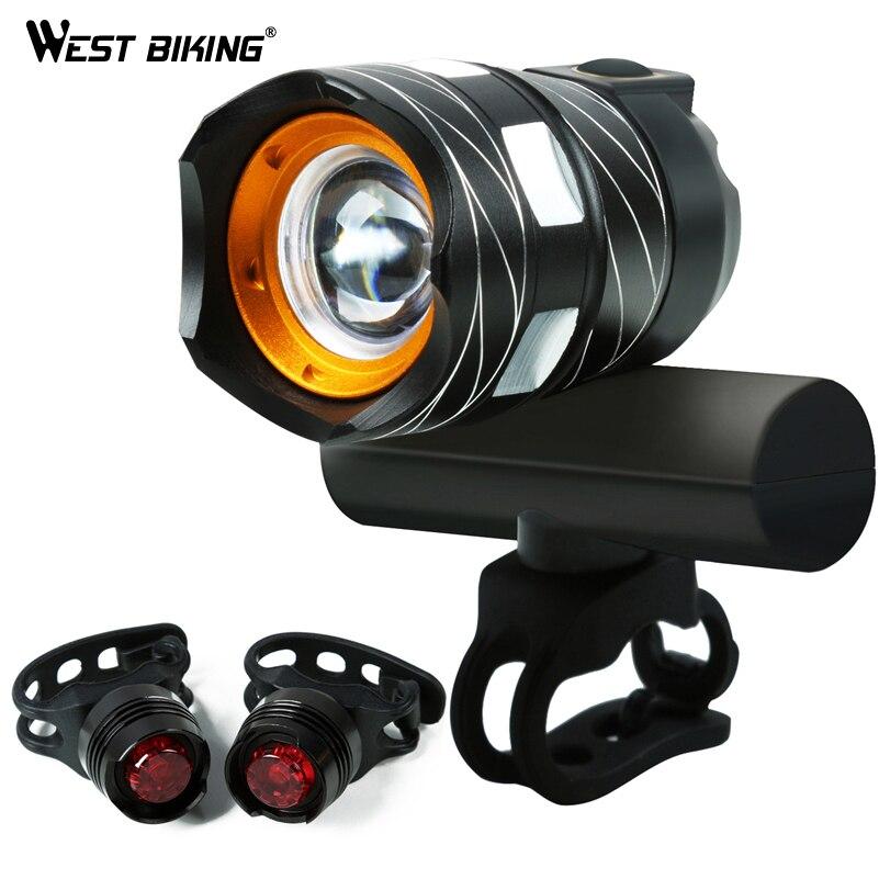WEST BIKING 1200LM Zoomable Vélo Lumière 4modes Large Phare USB Rechargeable Étanche Lampe Frontale Feux Arrière Vélo Lumière