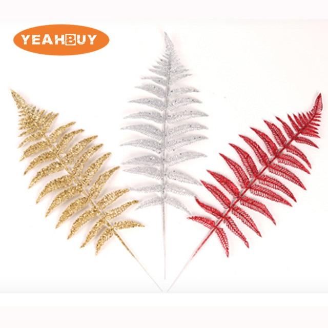 40*20 cm 3 colores Navidad brillo decorativo hoja seda artificial ...