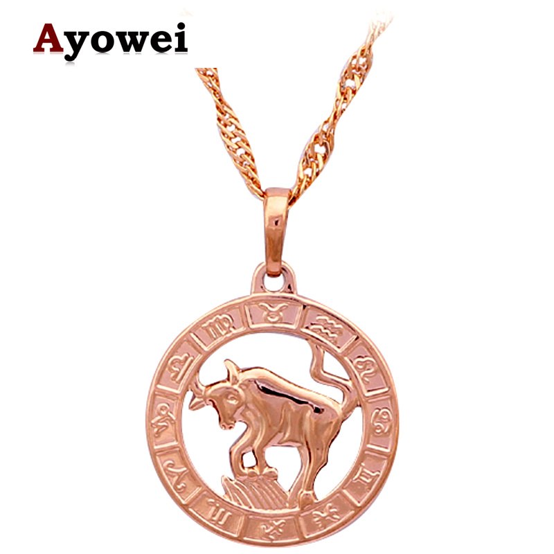 Taurus Necklaces & Pendants Special Party Items New Arival 12 Constellation design gold tone Fashion Jewelry LN459A