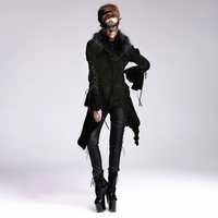 New Steampunk Gothic Printing Pattern Detachable Collars Black Velvet Long Coat Cultivate One S Morality Women