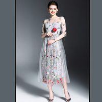 B 2017 Delicate Spring Embroidery Empire A Line Slim Flowers Leaves O Neck Vivid Popular High