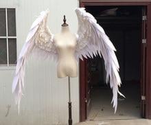 , Белый или черный мультфильм перо Крылья ангела для модные выставки Свадебный съемки реквизит Косплэй игровой костюм