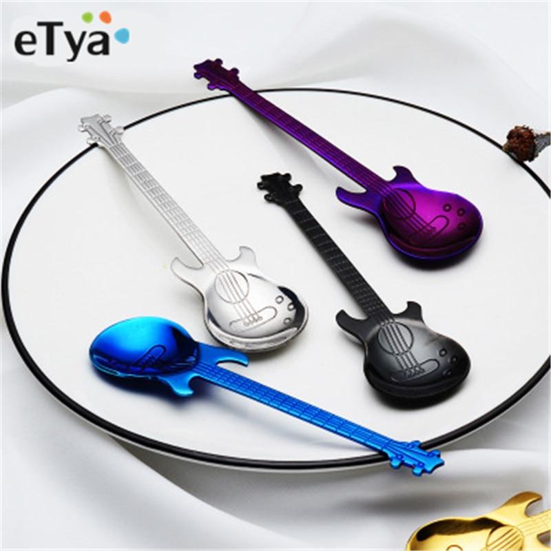 Guitar Bass Coffee Spoon Create 304 Stainless Steel Coffee Scoop Rose Gold Black Cutlery Tea Spoon Coffee Accessories Teaspoon