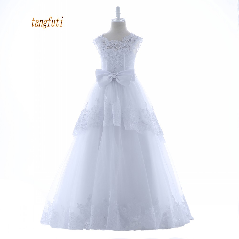 Lace Long Flower Girl Dresses for Weddings Evening First Communion Pageant Dressesa A-Line Wedding Girls Kid