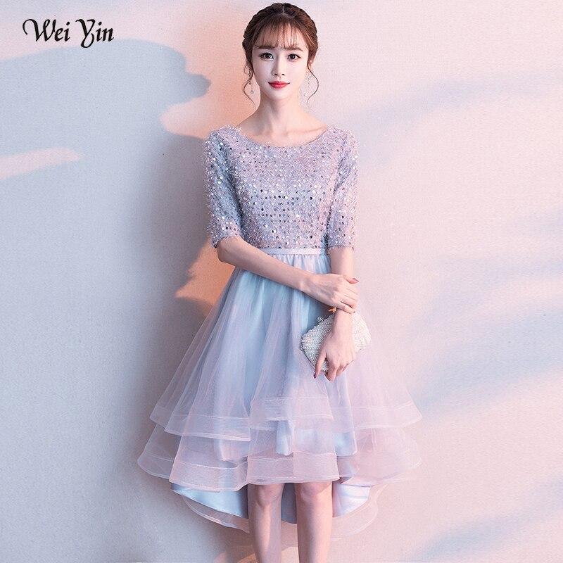 Wei yin 2019 nouveauté argent gris O cou fleurs à lacets dos Robe De soirée Robe De bal Robe Vesta De Festa WY1709