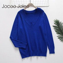 Jocoo Jolee Casual V Neck Sweater 2018 Musim Gugur Baru Fashion Longgar Rajut Solid Tops Backless Pullover Sweater Femme Jumper(China)
