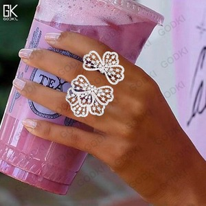 Image 3 - GODKI トレンディ高級 Bowknots キュービックジルコニアクリスタル CZ 婚約イヤリングリング女性の結婚式ドバイブライダルジュエリーセット
