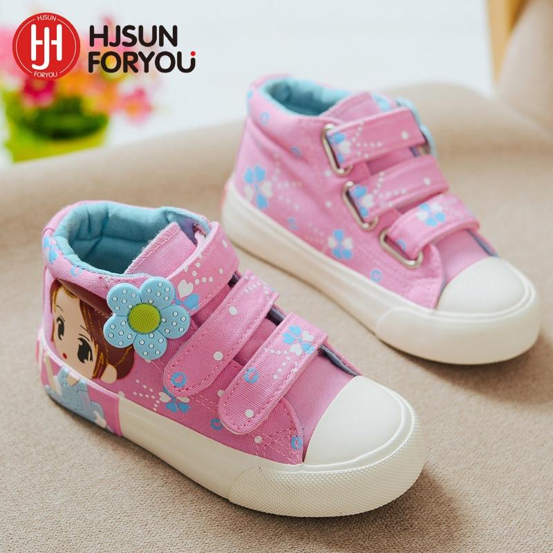 2019 Весна Осінь Діти Холст взуття дівчата Модні кросівки 3 кольори Висока Дитячі Повсякденне взуття Дихаюче взуття принцеси