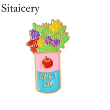 Sitaicery Cartoon Plant Enamel Pin Tree Flower Brooches Buttons Pins Denim Clothes Badge Fashion Broche Couple Accessories Gift