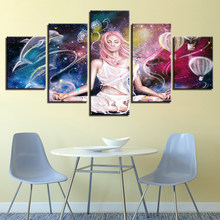 Canvas Wall Art Paintings Modular Framework 5 Pieces Anime Girl Fairy Poster HD Prints Abstract Dolphin Game Pictures Home Decor(China)