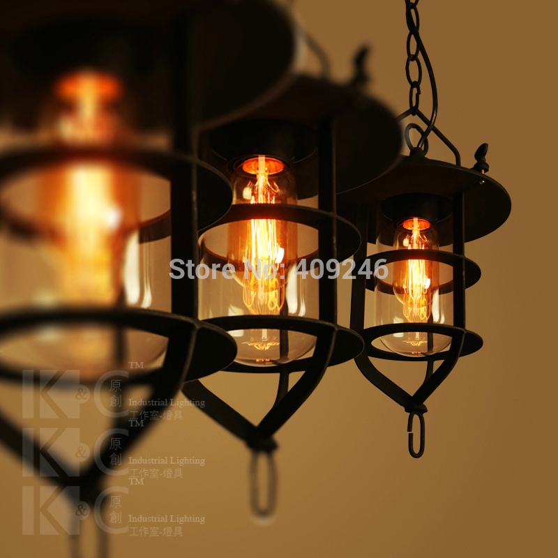 Retro Frosted Black Industrial Vintage Glass Iron lamp pendant Dock RH loft light E27 edison bulb Bar Cafe With Chain edison loft style vintage light industrial retro pendant lamp light e27 iron restaurant bar counter hanging chandeliers lamp
