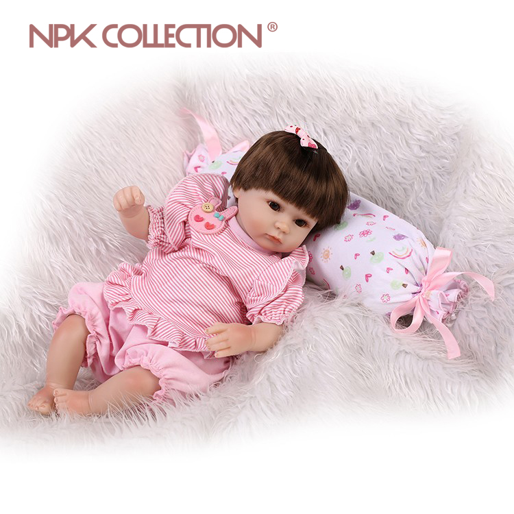 NPKCOLLECTION 17inch 40CM boneca reborn soft silicone vinyl real soft gentle touch reborn baby doll Children