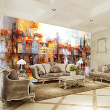 Custom 3D Wall Mural Photo Wallpaper Oil Painting of Color Building Contact Paper For Living Room TV Sofa Backdrop цены