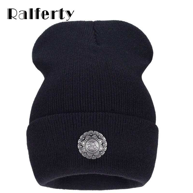 RalfertyNew style Knitting Skullies and Beanies Brand autumn winter Acrylic Hat Hip Hop Warm Hats Bonnets for Men Women Caps skullies