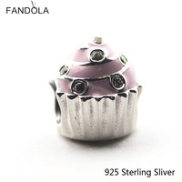 100 Real 925 Sterling Silver Sweet Cupcake Light Pink Enamel Clear CZ Beads Pendant Authentic Jewelry
