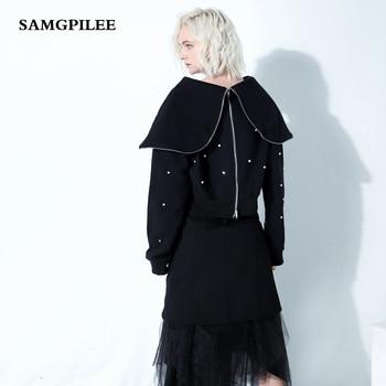 Moleton Feminino Inverno Unicorn 2019 New Casual Cotton Full Sleeve Solid Pullovers Turn-down Collar Women Hoodies & Sweats S-l