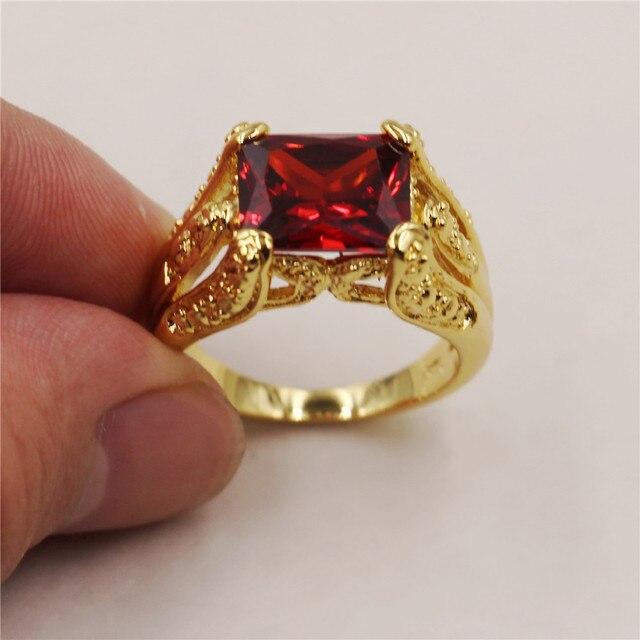 51210b48b3f6b Atemporal radiante rojo granate 18 kt oro amarillo lleno solitario garra  anillo regalo para hombres tamaño