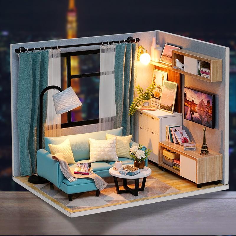 Cutebee Doll House Furniture Miniature Dollhouse DIY Miniature House Room Casa Toys For Children DIY Dollhouse H18-2