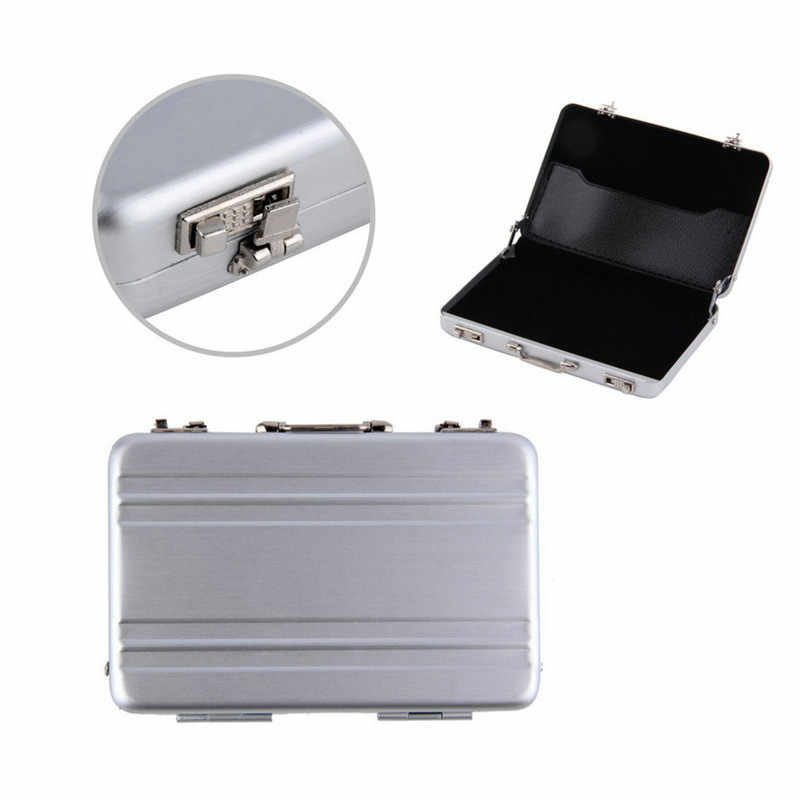 1pc Mini Aktentasche Visitenkarte Fall Identifikation-halter Passwort Silber Aluminium Kredit Fall Box Großhandel