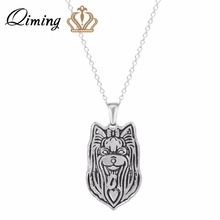 QIMING Women Pendant Necklace Handmade Yorkshire Terrier Jewelry Great for all the Dog Puppy and Pet Lovers For Girl Gift