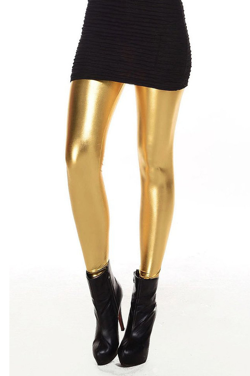 2017 NEW Metallic Wet Look Liquid   Leggings   Shiny Stretch Women Pencil Pants(gold)