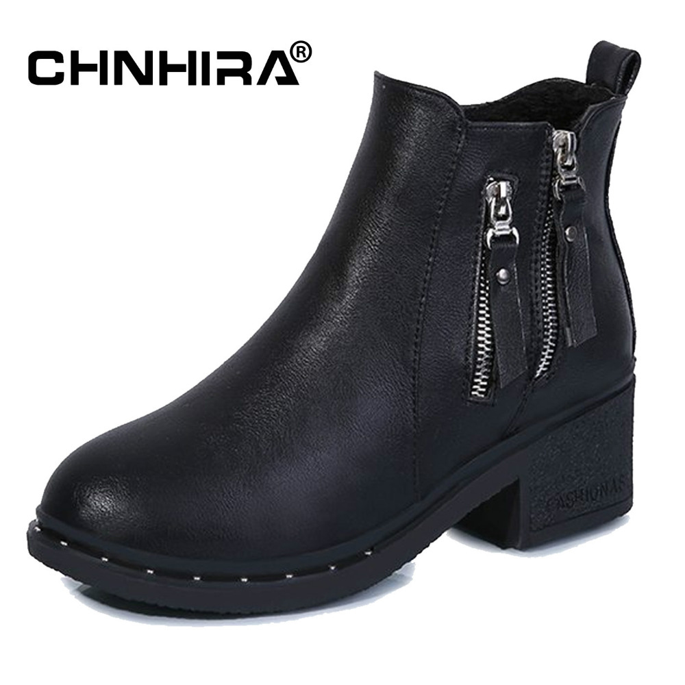 CHNHIRA Women Autumn Ankle Boots Leather Double Zipper Casual shoes Motorcycle ladies Martin Boot heels Classic Shoe #CH2034
