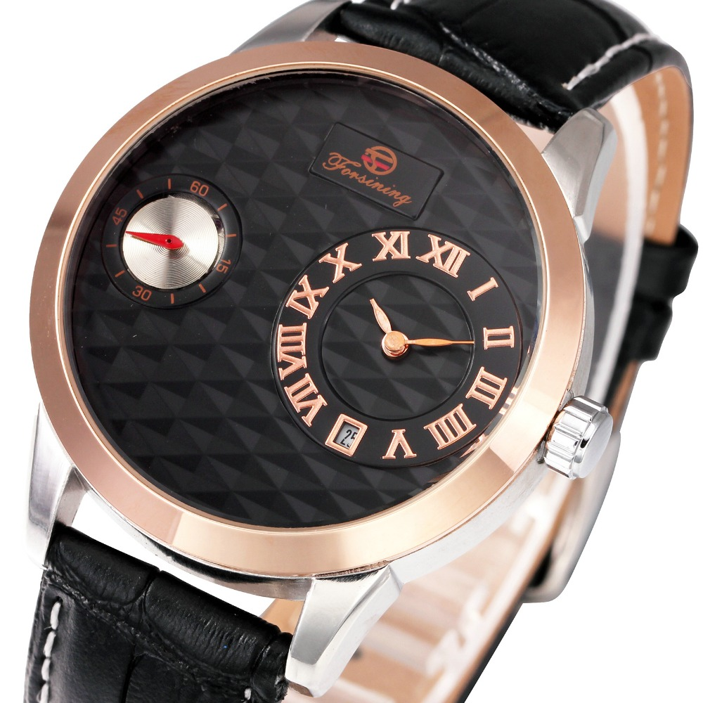 2017 Business Men Watch Top Brand Luxury Roman Numerals Dial Automatic Mechanical Wrist Watch Soft Leather Band Working Sub-dial