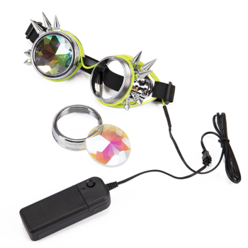 Steampunk Goggles Welding Rivet Illuminate Punk Goggles Retro Gothic kaleidoscope Colorful Lens Cosplay Eyewear 2