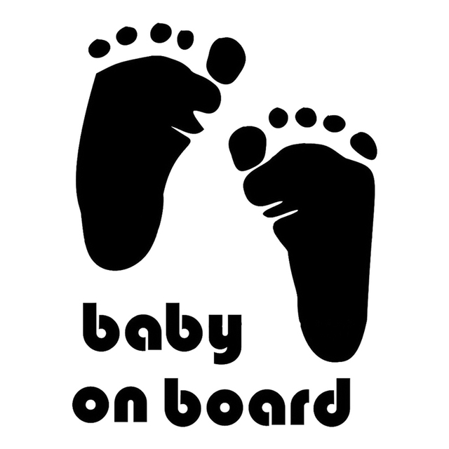 1pcs new design cute letter baby on board baby footprints stickers