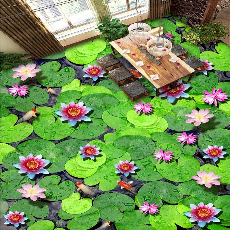 Free Shipping lotus leaf Koi pond Hawthorn 3D flooring sticker wallpaper slef-adhesive waterproof floor wallpaper mural chinese new harvest hawthorn extract hawthorn berry extract flavone 600g