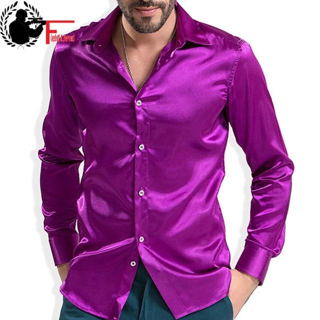 2020 موضة الساتان اللامع النمط البريطاني فستان قميص الحرير الفاخرة مثل ملابس رجالية بكم طويل قميص غير رسمي أداء الملابس ارتداء الذكور